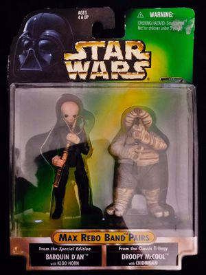 Hasbro/Kenner® 1998 Collection Star Wars® Max Rebo Band™ Barquin D'an™ & Droopy McCool™ Action Figure Pairs for Sale in Elizabeth, NJ