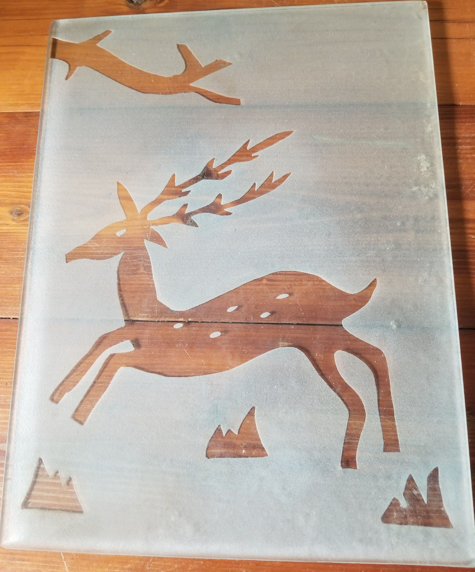 Reindeer deer frosted glass heavy duty nice