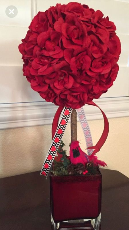 Silk Red Roses Ball On A Cute Red Square Vase For Sale In Menifee