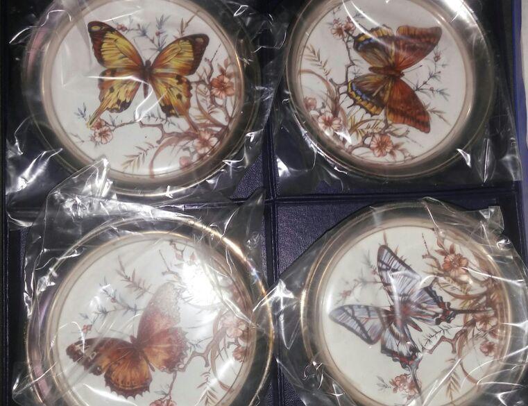 Vintage Sheridan Silver Butterfly Coasters