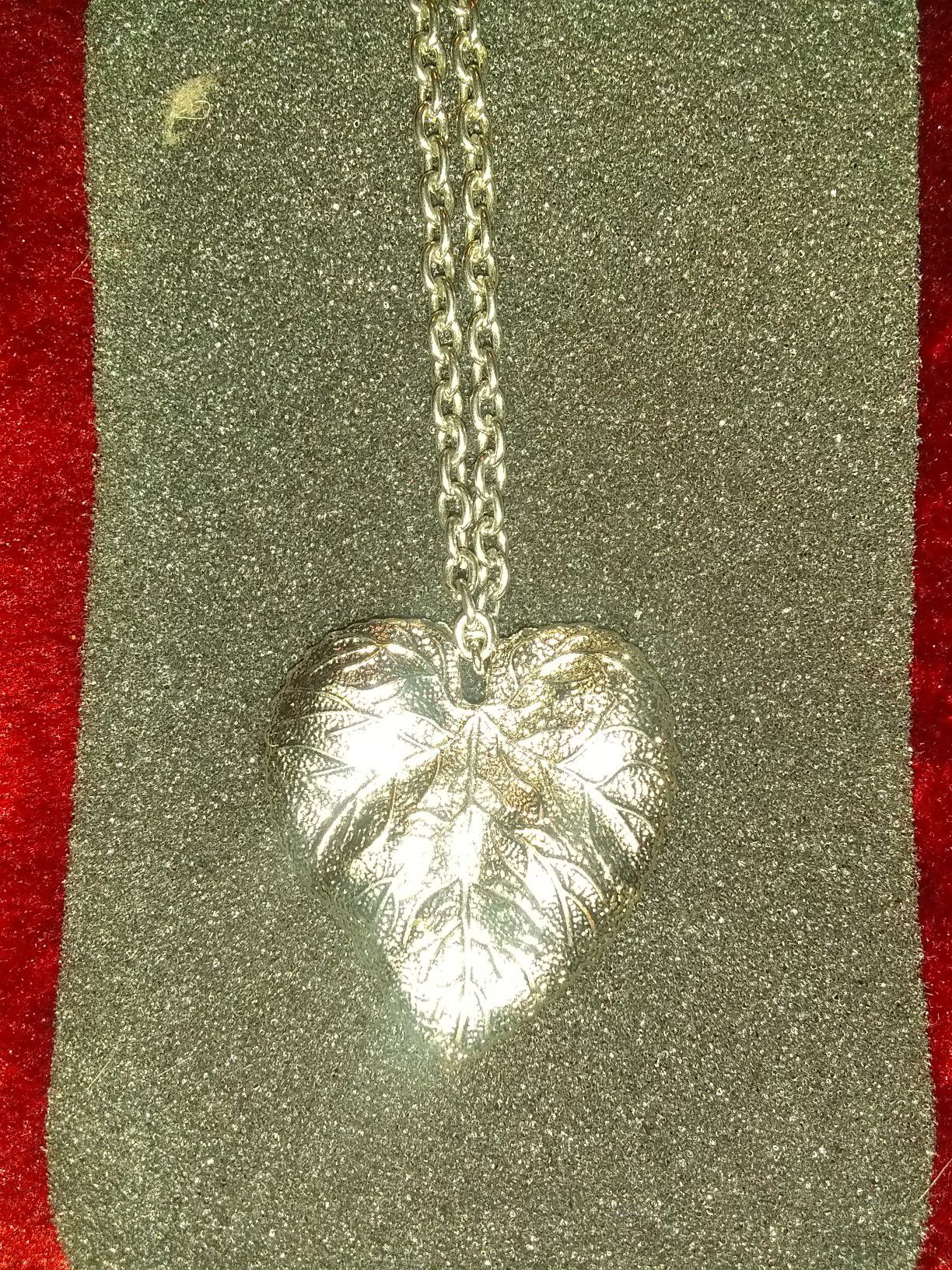 Large silver leaf pendant on silver chain
