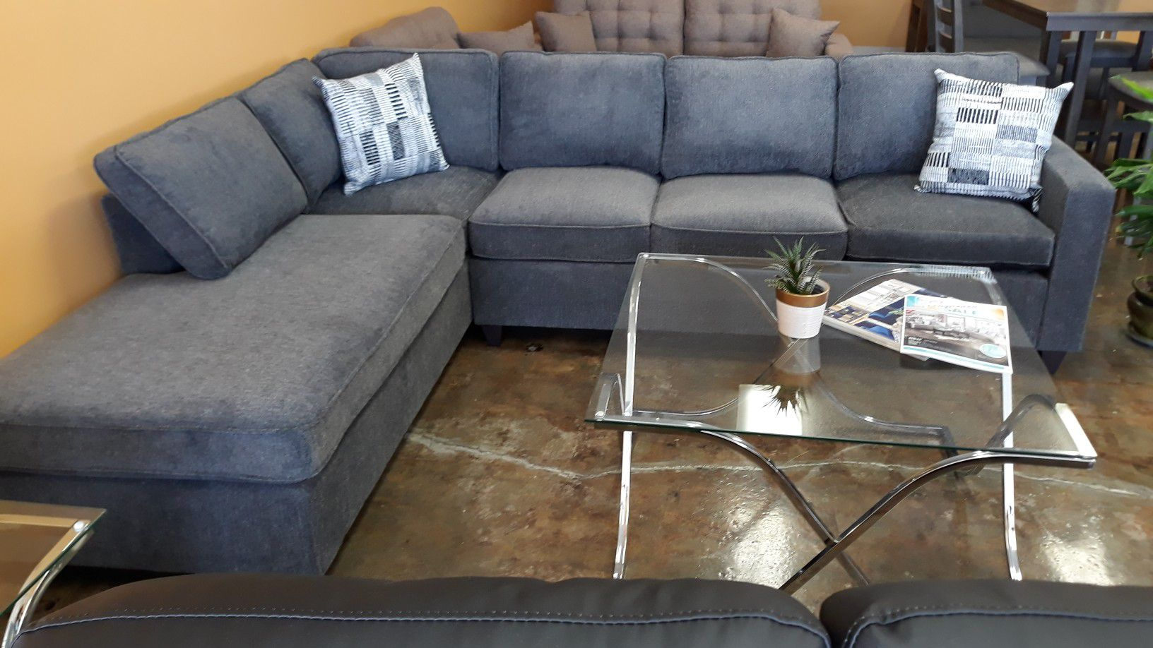 Sectional gray chenille