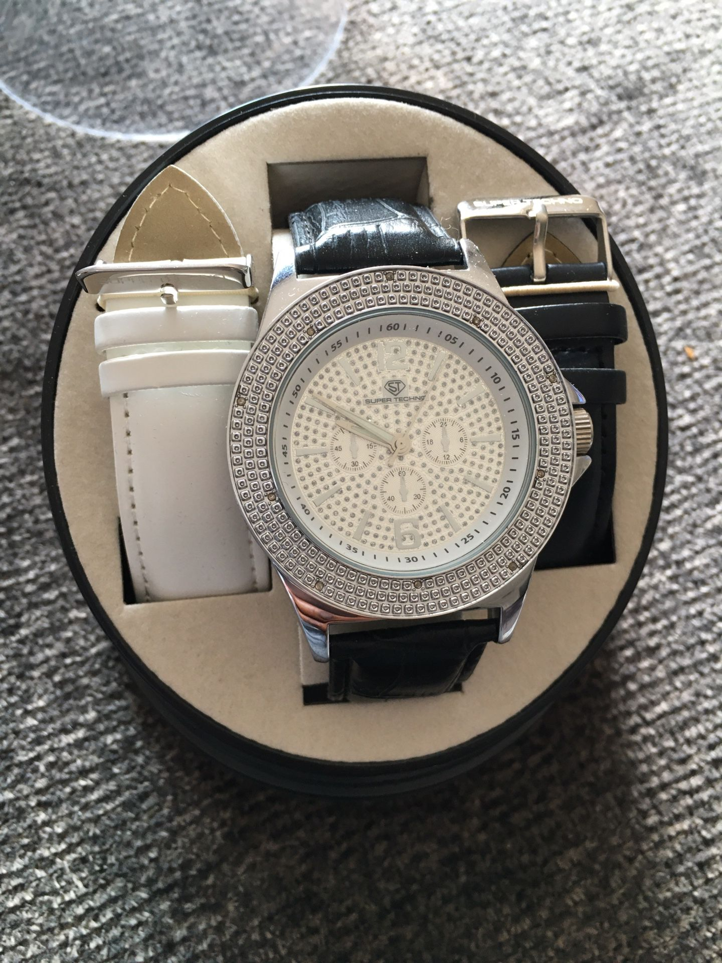 Iced out super techno designer men's watch w/changeable bands