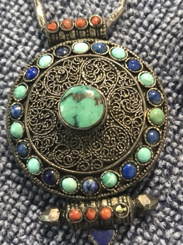 Antique sterling silver 925 tibetan prayer box pendant gau ghau 3 antique sterling silver 925 tibetan prayer box pendant gau ghau 3 by 3 filigree turquoise coral lapis on 28 handmade sterling silver etched beaded for aloadofball Image collections
