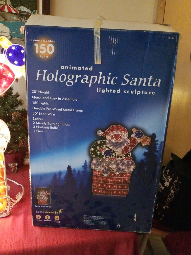 Animated Holographic Santa Lighted Sculpture