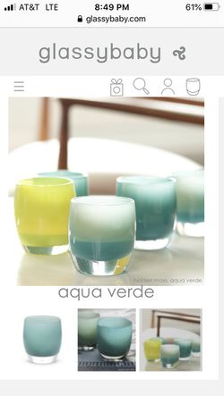 Glassybaby Aqua Verde turquoise green blue yellow hand blown glass votive candle holder🕯 Thumbnail