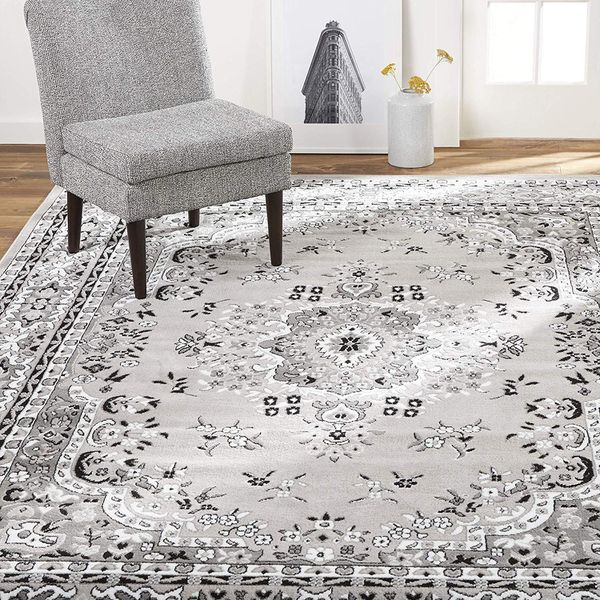 New Traditional Gray White Area Rug For