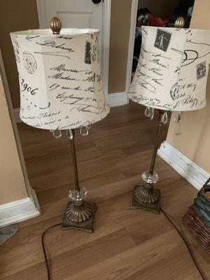 """2 - Royal Designs 28"""" Crystal Antique Brass Lamp and Black Vintage French Print Drum Hardback Lamp Shade for Sale in Takoma Park, MD"""