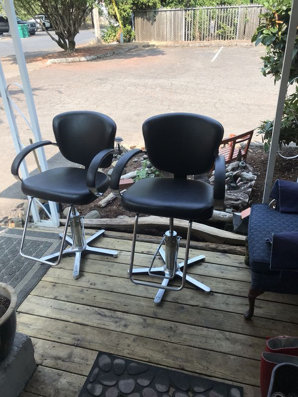 nice like a new pair of retro salon style hydraulic chairs with arm