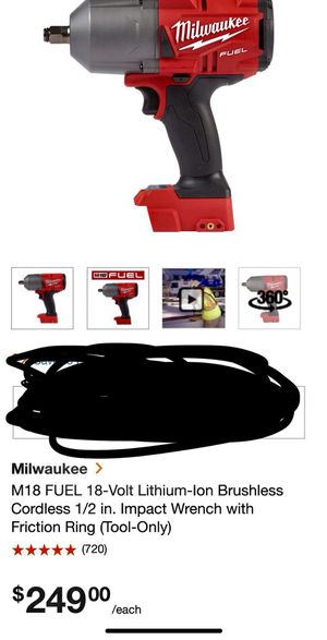 Milwaukee 1/2 inch impact wrench for Sale in Gaithersburg, MD