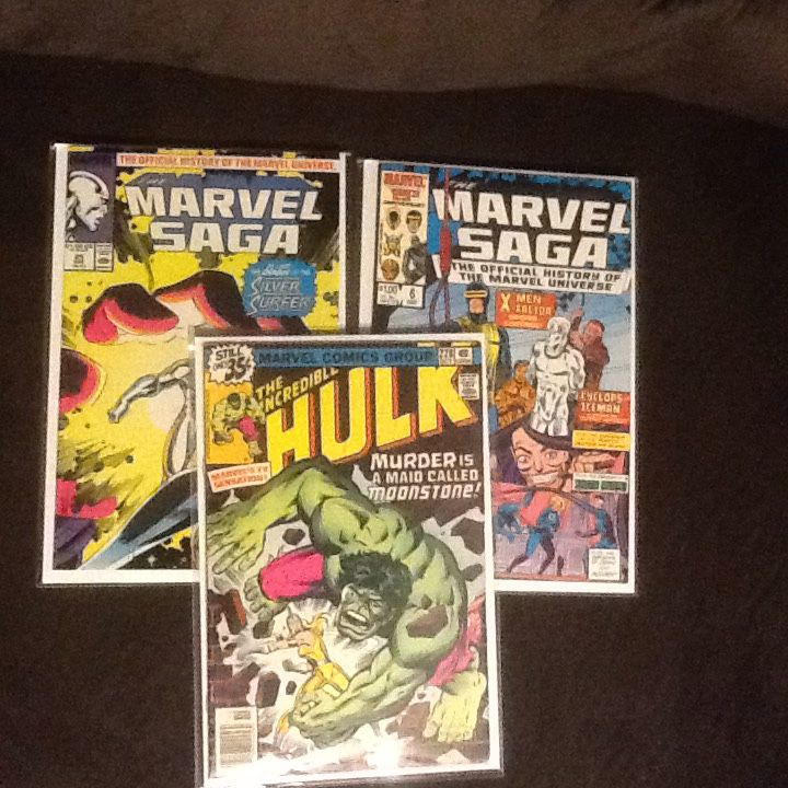 3 Comics - Marvel Saga comics and Hulk comic
