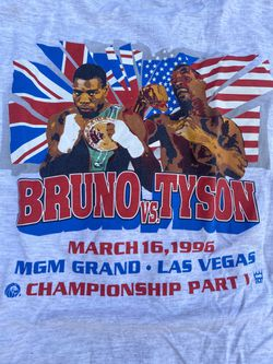 Vintage 1996 Mike Tyson Verse Frank Bruno  MGM tag Size L/XL $300 Flaw Little Ink Left Side You can see in The Last Picture Thumbnail