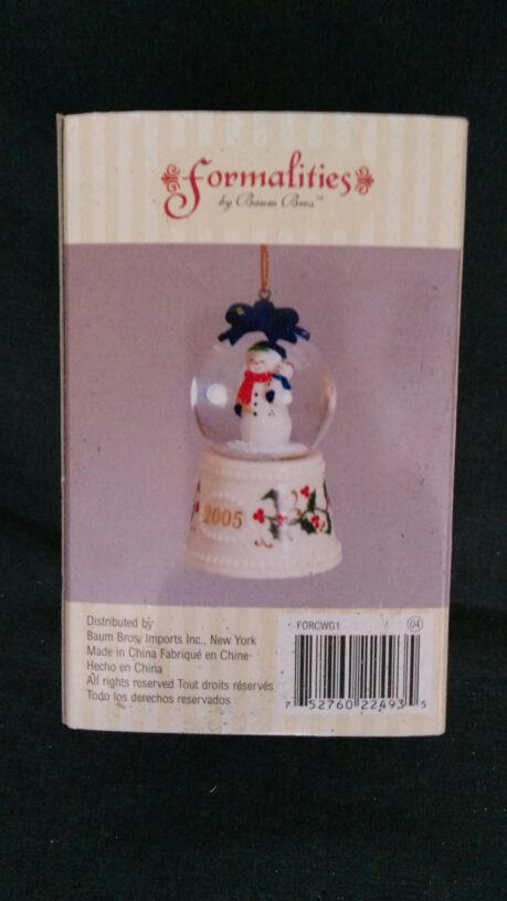 Formalities Porcelain Snowman Globe Musical Christmas Ornament ...