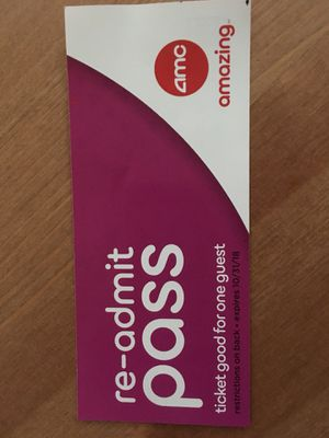 AMC Movie pass ticket good for any movie including 3D for Sale in Layton, UT