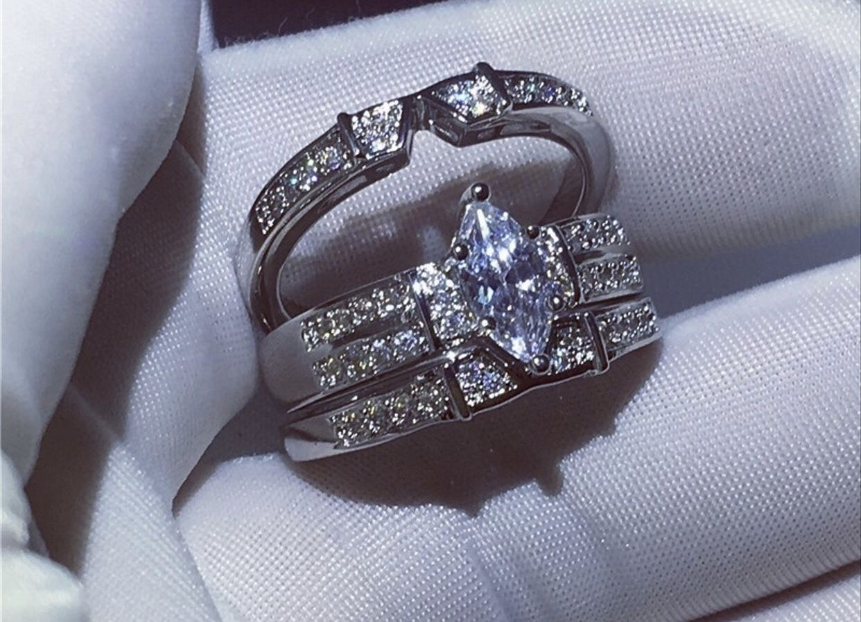 Shiny woman 925 Sterling silver Marquise Cut 3.45CT Diamond jewelry Bridal wedding ring set size 7&8