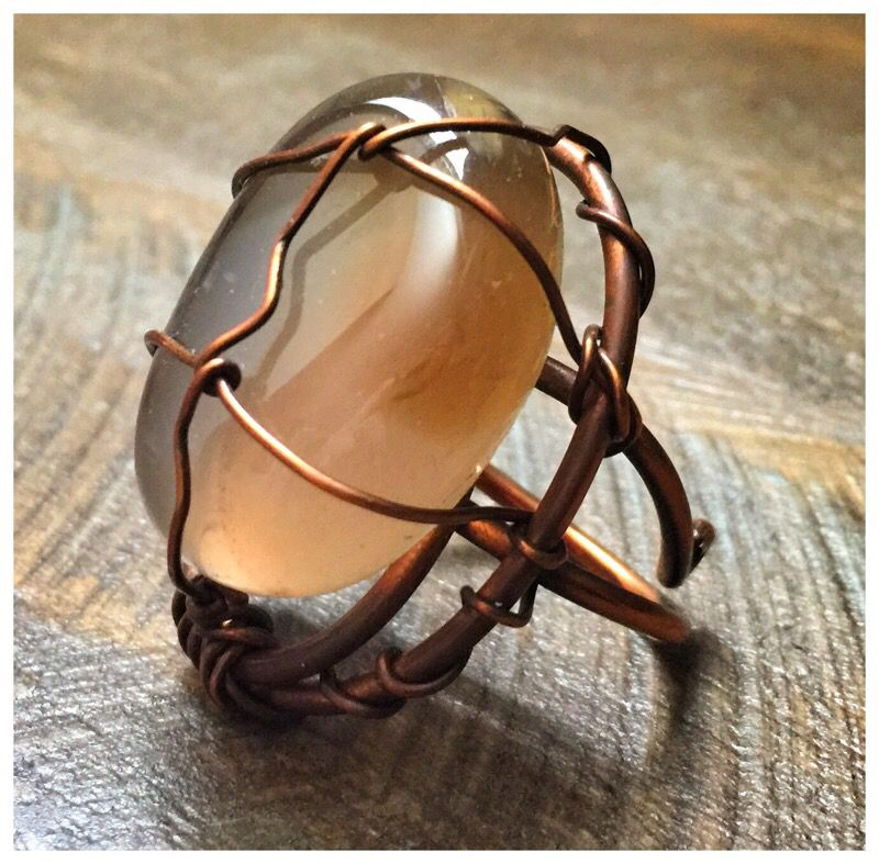 Beautiful One of a Kind copper ring with Eye of Tiger stone