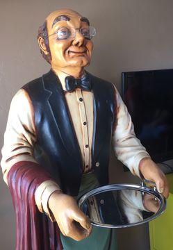 Antique Old Man Waiter Statue Thumbnail