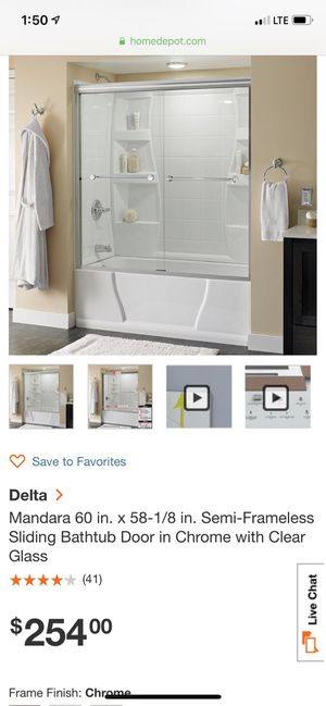 Delta sliding bathtub doors for Sale in Rockville, MD