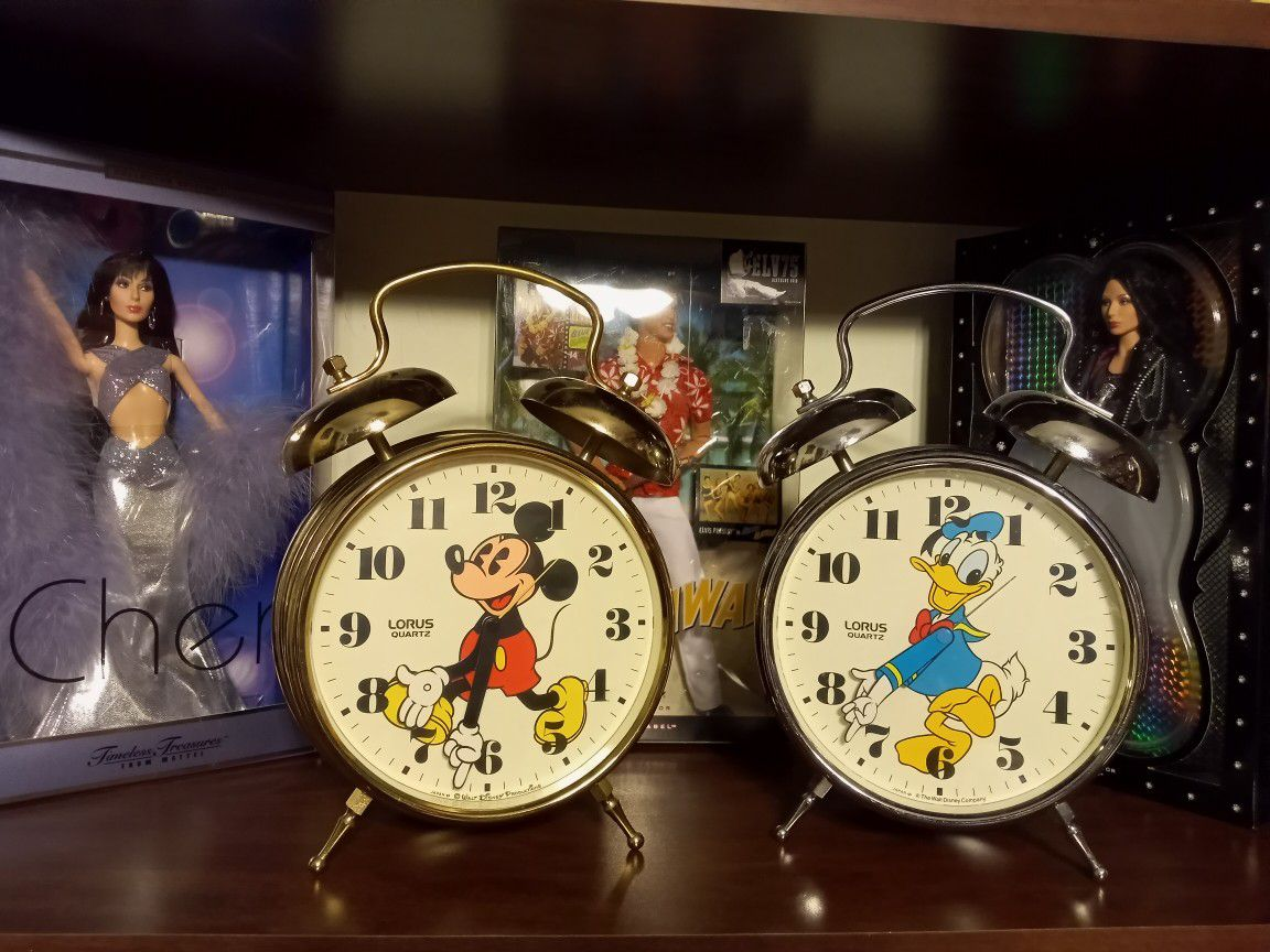 Disney Mickey Mouse And Donald Duck Metal Large Alarm Clocks Works Great Each  150