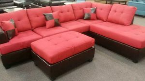 Brand New Red Linen Sectional Sofa Couch + Ottoman for Sale in Chevy Chase, DC