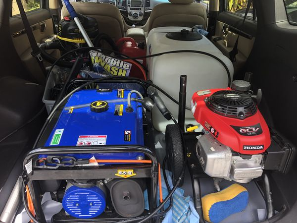 Car wash equipment   Generator, pressure washer, Hoover, water tank, wax  polish machine, additional cable, vacuum and cleaning stuff  for Sale in