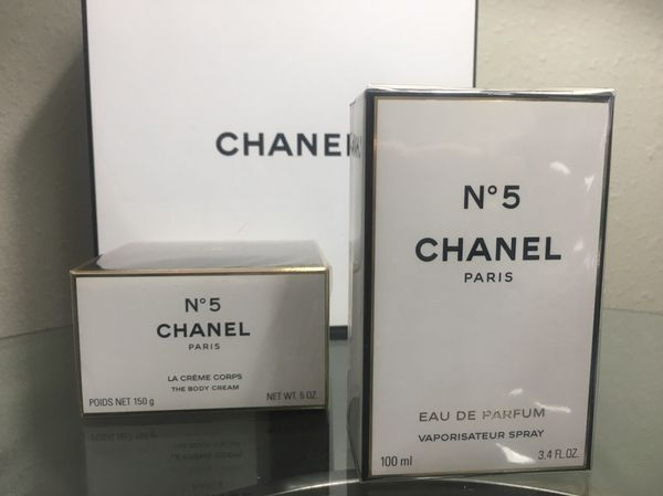 CHANEL NO 5 PERFUME FOR WOMEN EDP 2PC GIFT SET 3.4OZ + Body CREAM NEW IN BOX fb230a088