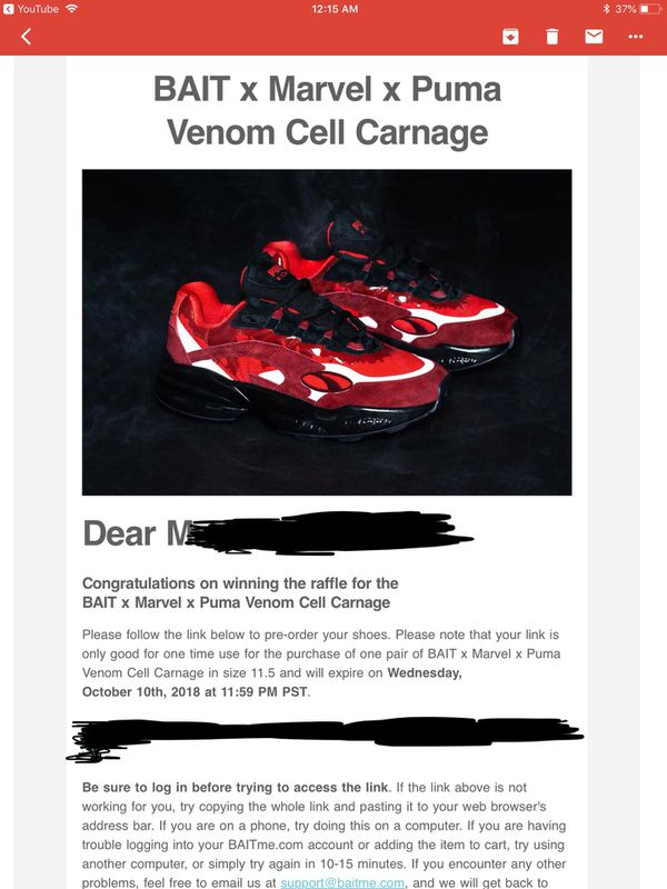 Bait X Marvel X puma cell venom carnage for Sale in Parkland 0265a75b5