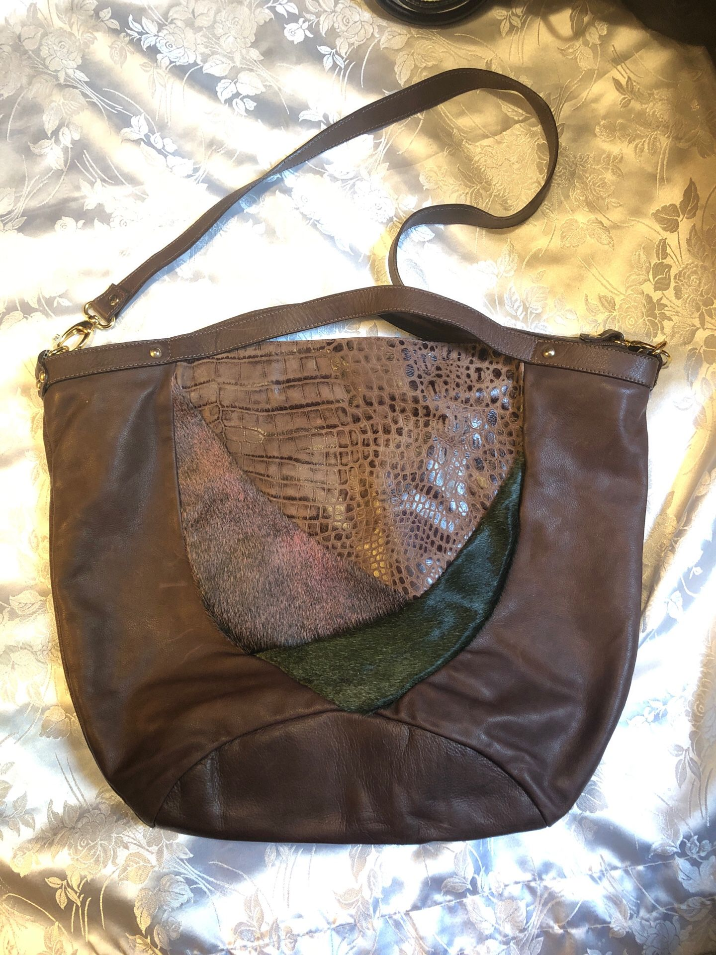 Aleanto brown genuine leather handbag purse