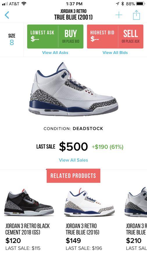 c78df0e355a7 Jordan 3 retro true blue for Sale in Federal Way
