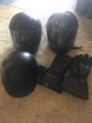 Set of three motorcycles helmets + gloves for Sale in Denver, CO