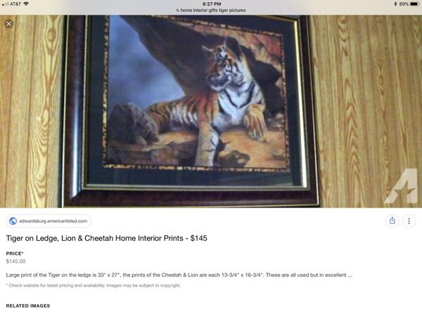 Home Interior Gifts Tiger Picture For Sale In Broomfield Co Offerup