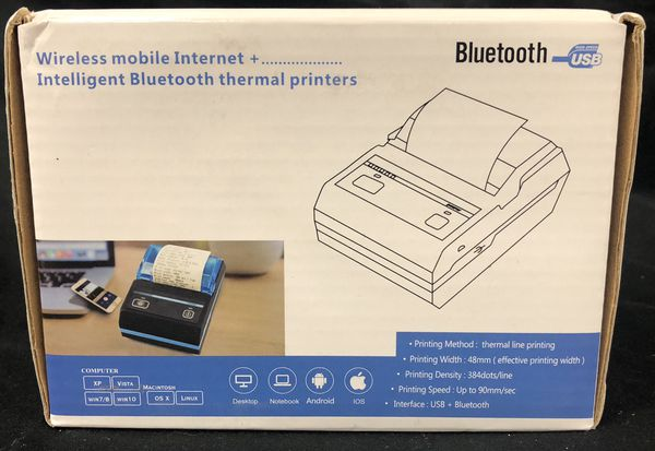 Thermal Receipt POS Small Printer 48mm Bluetooth Printer Compatible with  Android/iOS/Windows System ESC/POS Print Commands Set for Office for Sale  in