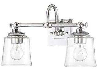 """Park Harbor PHVL3012PC Antonia 2 Light 17-3/8"""" Wide Bathroom Vanity Light with Clear Glass Shades, Polished Chrome Thumbnail"""