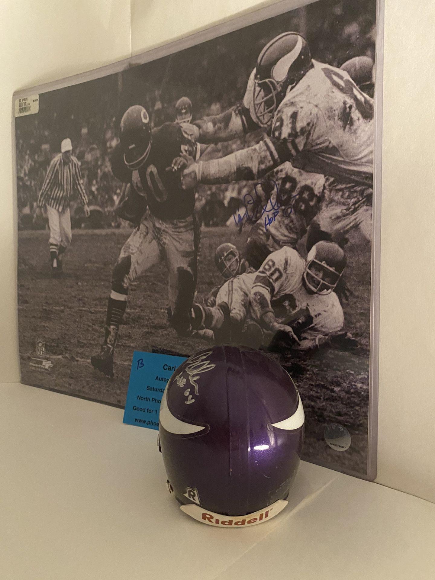 Carl Eller Minnesota Vikings Autographed Mini Helmet w Inscrip / Cert of Auth WOW !!