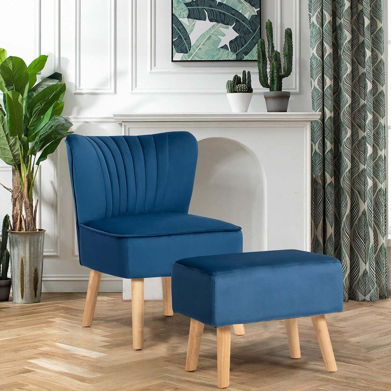 Costway Leisure Chair and Ottoman Thick Padded Velvet Tufted Sofa Set w/ Wood Legs Pink\Blue\ Green