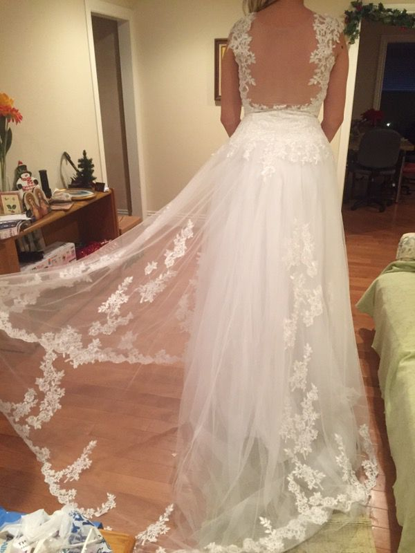 Maison Kas tattoo lace A-Line wedding dress size 12 (Clothing ...