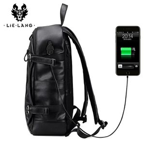 LIELANG Men Backpack External USB Charge Waterproof Backpack Fashion PU Leather Travel Bag Casual School Bag For Teenagers for Sale in Bethesda, MD