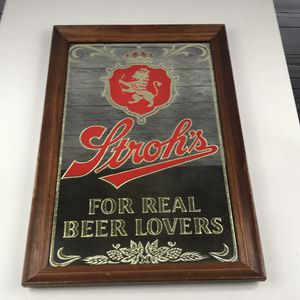 "Strohs for real beer lovers mirror sign rare 21x14"" for Sale in Los Angeles, CA"