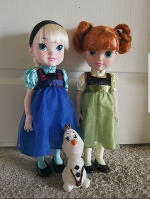 Disney Collection Elsa & Anna Toddler Doll, (one size) with olaff plastic toy Princess Doll Disney doll for Sale in Lake Mary, FL