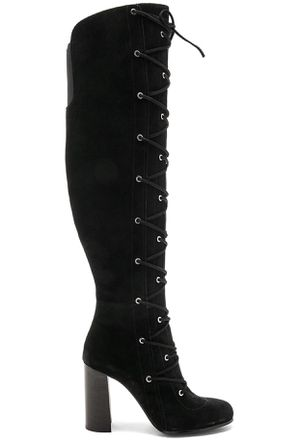 Vince Camuto Women's Thanta Lace up Knee High Stacked Thick Heel Black Suede Dress Boots. for Sale in Centreville, VA
