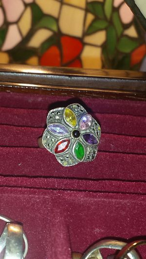 925 Stamped Silver Ring W/ Colorful Crystals for Sale in Fairfax, VA