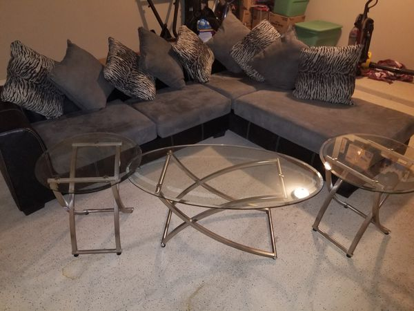 Sectional Sofa With 2 Glass End Tables And 1 Glass Coffee Table For