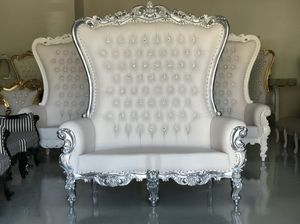 Free nationwide delivery | silver leaf throne loveseat sofa lounge settee king queen princess royal baroque wedding event party photography hotel lou for Sale in Baltimore, MD