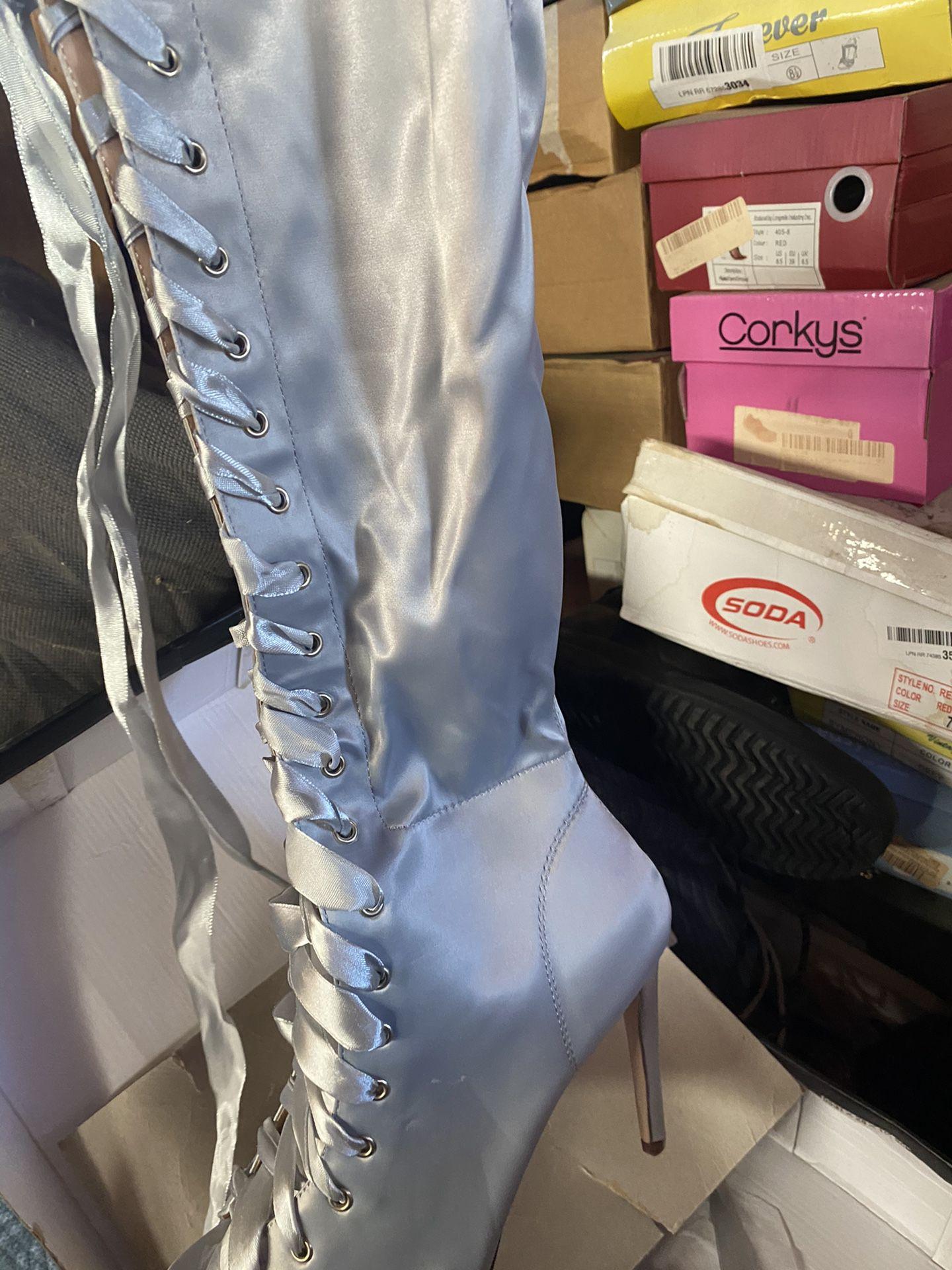 Light Blue Satin Thigh High Boots