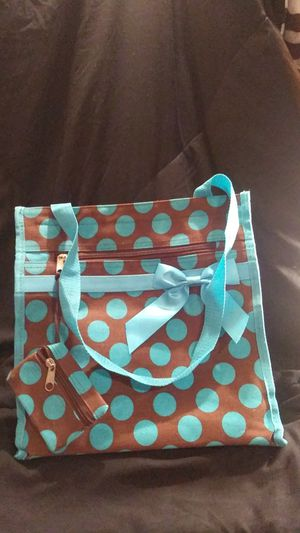 Photo Very cute blue and brown tote with bow and coin purse