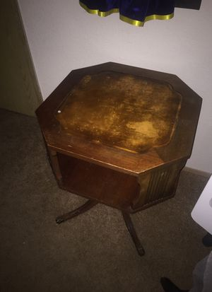 Mahogany leather top Oblong Drum Antique table for Sale in Lynnwood, WA