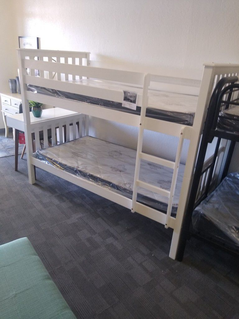White Twin size bunk bed frame With Mattresses Included