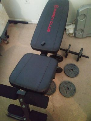Workout bench and 4 weights of 5 lbs each for Sale in Mesa, AZ