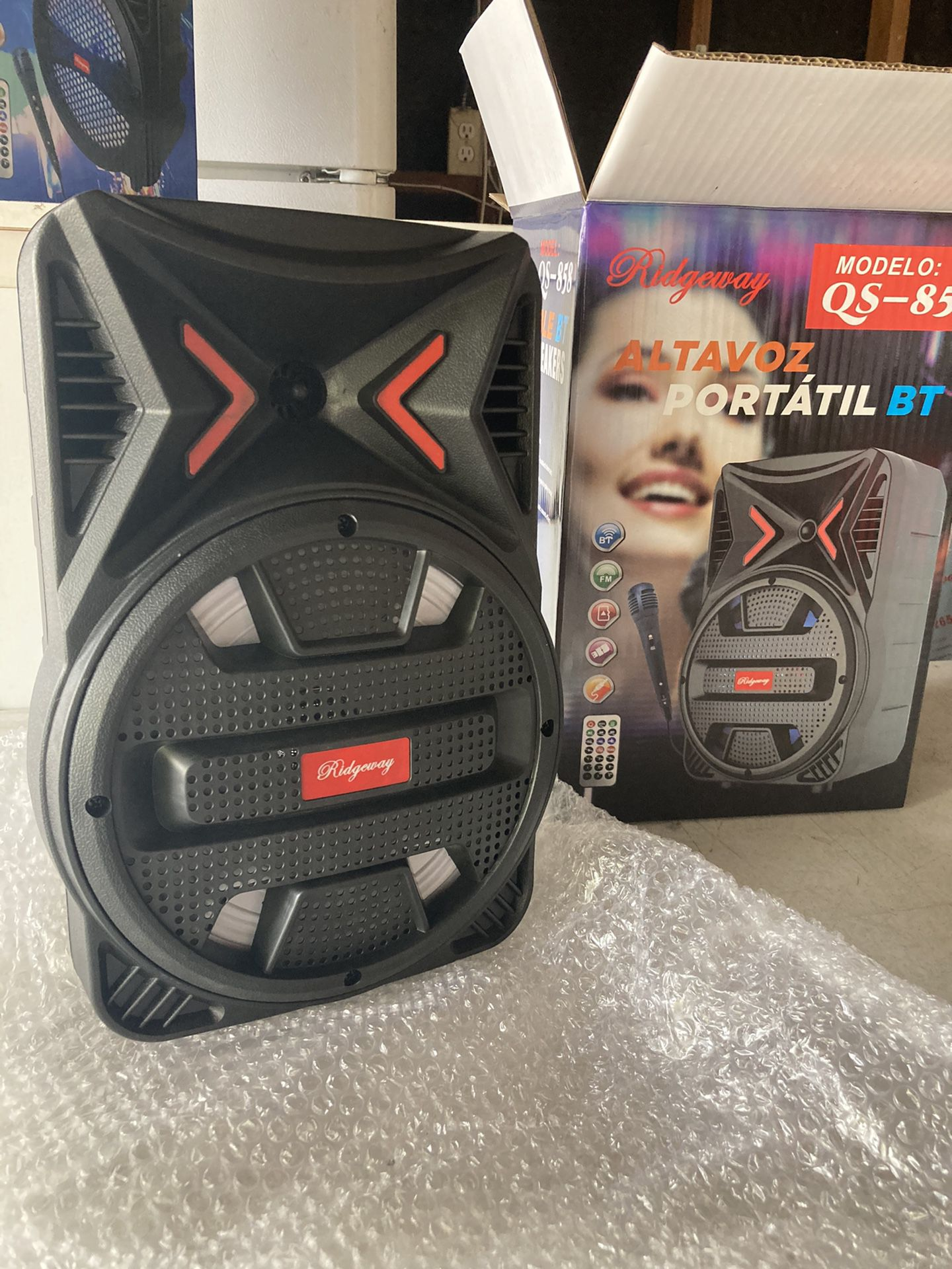 """- [8""""WOOFER/2800watts/BLUETOOTH - [ ] (Delivery available with extra charge) - [ ] (INCLUDES Microphone & Remote KARAOKE ) - [ ] (3-6 HOURS BATTE"""
