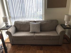 Sleeper Sofa with Memory Foam Queen Mattress Beige for Sale in Chevy Chase, MD